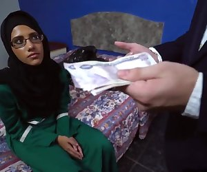 Sexy and nasty Arab bitch rides fat cock for the money