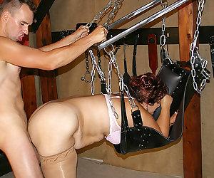 Kinky mature slut gets fucked in her basement