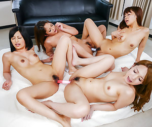 Aoi Miyama loks dashing with cocks in each of her holes