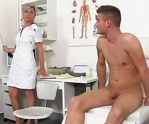 Cfnm handjob at sperm clinic with uniform milf Beate