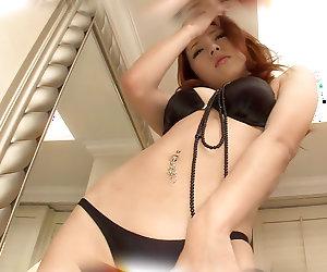 Honoka Sakura looks amazing in her new black lingerie set
