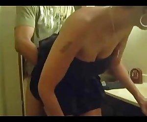 Mom knocking at the bathroom door