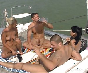 Boat ride with hot bikini babes becomes a great orgy