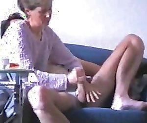 wife masturbates the cock