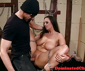 Chubby slave whipped and dominated