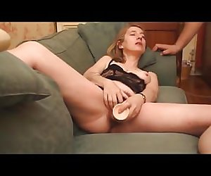 Hairy milf masturbating with dildo in lingerie and blowjob