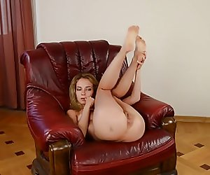 Hot blonde fucked in a chair