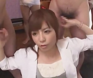 Amazing Japanese model Riri Kuribayashi in Hottest Blowjob, Gangbang JAV movie