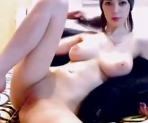 junior babe with massive big natural boobs and shaved pussy